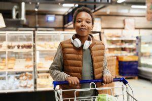 Teenage Boy Shopping in Supermarket